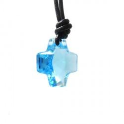 Colar Cruz Swarovski Azul