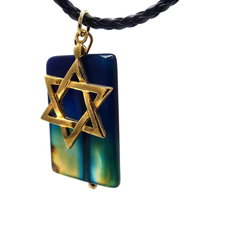 Colar Estrela de David Agata Azul Ouro