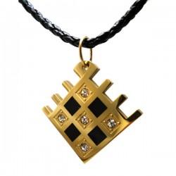 Pingente Quadrado Zirconia Ouro