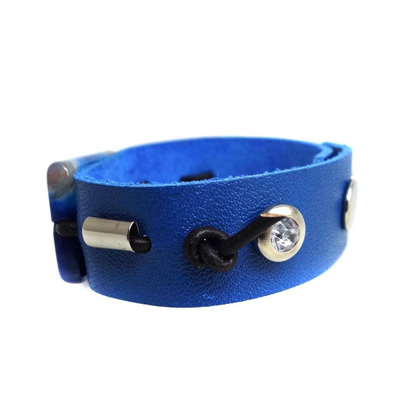 Pulseira Agata Azul Couro