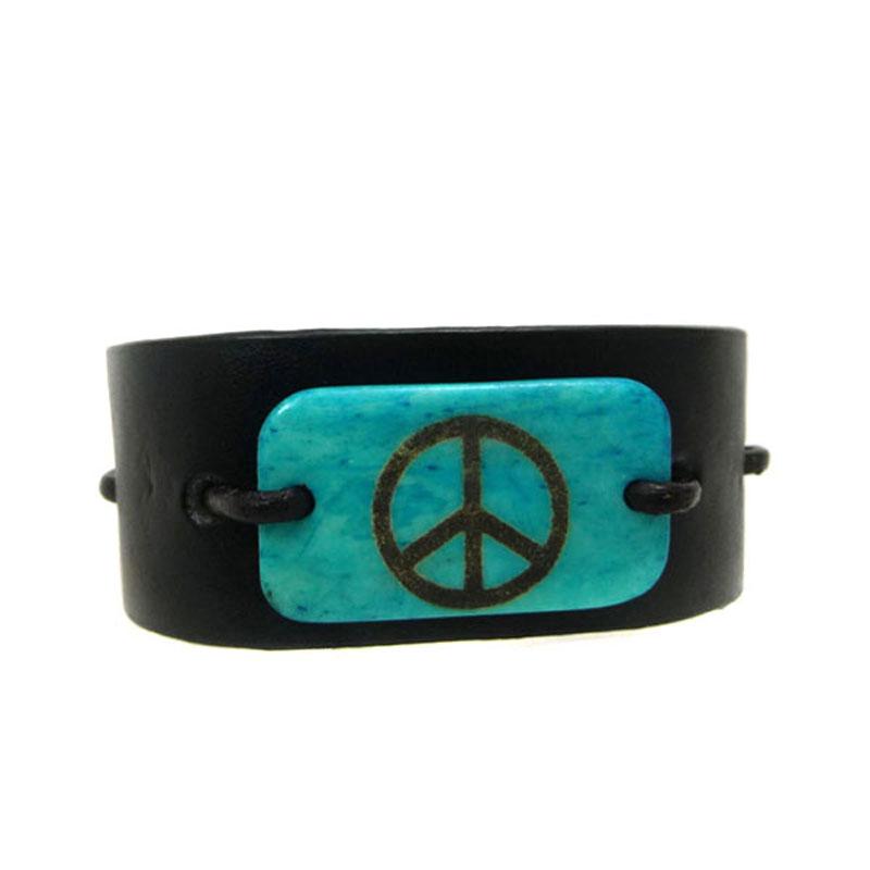 Pulseira Couro Paz Amor Azul