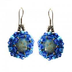 Brincos Amazonita Swrovski Azul
