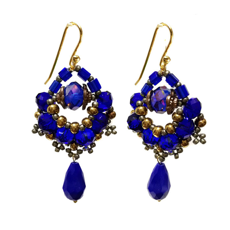 Brincos Lapis Lazuli Cristais Cobalto