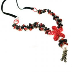 Colar Onix Coral Strass